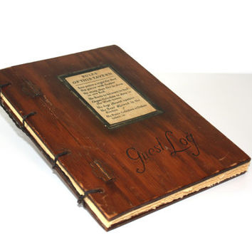 Vintage Tavern Log- Reclaimed wooden book - Wedding Guest Book - Rustic bar book