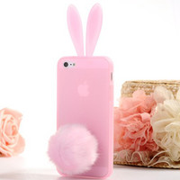 Hot selling ! High Quality Silicone TPU soft Phone Case for iphone 4 4S 4G Bunny Rabbit Ear Design Back Cover case SJK-220