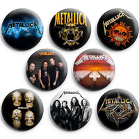 Metallica Pinback Buttons Pins Badges 1.25 inch 8Pcs New