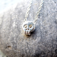 Tiny Skull Necklace Sterling Silver Necklace