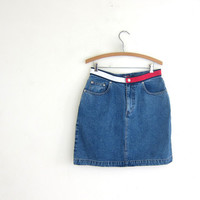 20% OFF SALE Vintage Mini Jean Skirt. Dark Wash Denim Skirt.