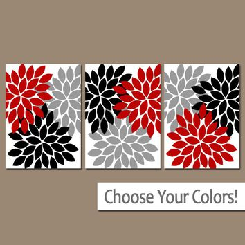 Red Black Gray Wall Art, Red Black Bedroom Pictures, CANVAS or Prints Red Bathroom Decor, Red Gray Black Home Decor Set of 3 Flower Bursts