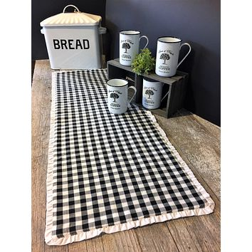 Emmie Black and White Check Table Runners