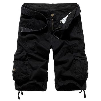 Spring and summer male loose multi-pocket tooling casual plus size summer men's knee-length pants capris breeched