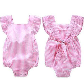 Baby rompers infant girl Newborn baby clothes Striped cotton suspenders sleeveless rompers suits Coverall