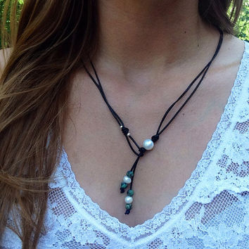 Freshwater Pearl and Turquoise Lariat Leather Necklace