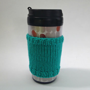 Coffee cozies, coffee cup sleeve, knit coffee cozy, knitted coffee cozy, coffee accessories, teal coffee mug, coffee sleeve, coffee cozy
