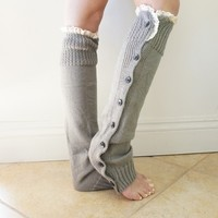Gray and Ivory Knitted Lace Button Down Cute Boot Cuff Socks, Leg Warmers