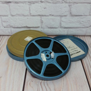 "Vintage 5"" 8mm Film Reels and Canisters With Home Movies Blue Gold Metal Set of 3"