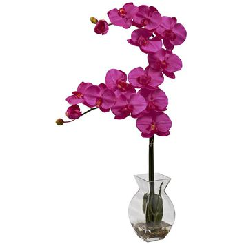 Silk Flowers -Blue Phalaenopsis Orchid With Vase Artificial Plant