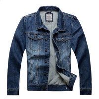 Men's Vintage Cool Denim Jacket Slim Fit Outwear Blue