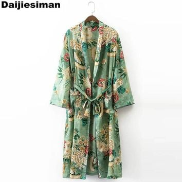 Oversized Vintage Green Print Floral Long Kimono Cardigan Blouse Sashes Two Pockets Shawl Side Split Hem Shirt Women Streetwear