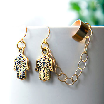Hamsa Ear Cuff Earrings, Gold earcuff with chain - Gold Hamsa Hand Bohemian  Summer Jewelry