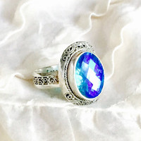 Caribbean Quartz Ring (Blue/Green + Sterling Silver)