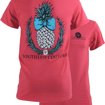 Southern Couture Preppy Classic Pineapple Bow Tropical Girlie Bright T Shirt