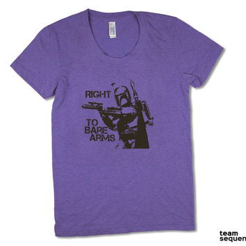 Right To Bare Arms   Orchid Tri-Blend Women's T-Shirt   American Apparel   Bounty Hunter   Guns   Gun Rights   SciFi   Funny   S/M/L/XL