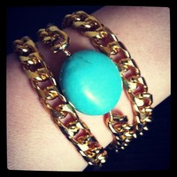 Triple Chain Bracelet with Turquoise