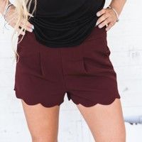 Burgundy Scallop Shorts