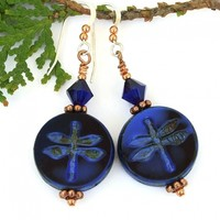 Blue Black Dragonfly Earrings, Handmade Indigo Swarovski Crystal Copper Artisan Jewelry