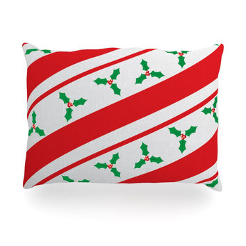 "KESS Original ""Holiday Holly"" Christmas Holiday Oblong Pillow"