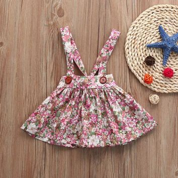 MUQGEW 2018 Baby Girls Floral Print Straps Backless Dress Summer Sleeveless   Overall Outfits Clothes Dress Vestidos Bebe