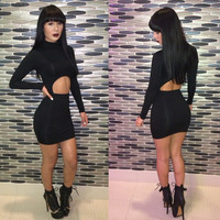 Black Long Sleeve Cut Out Mini Bodycon Dress