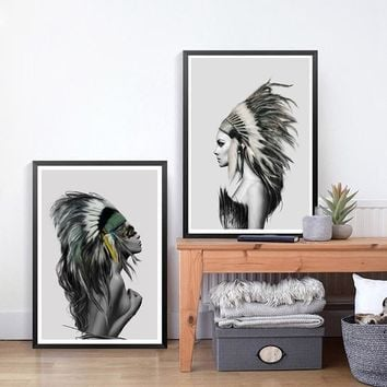 Beauty Art Canvas Painting Native American Indian Girl Feathered Poster Wall Picture Modern Home Wall Art Decor Print