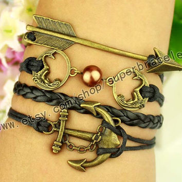 Mermaid bracelet, anchor bracelet, arrows bracelet, Antique bronze bracelet, personalized charm jewelry friendship gift