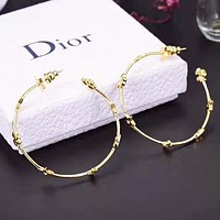 Dior New fashion letter star round circle long earring accessory Golden