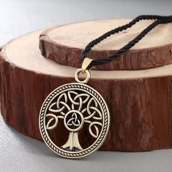 Celtic Knot Tree of Life Round Pendant Necklace