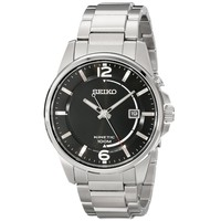 Seiko SKA671 Men's Black Dial Steel Bracelet Power Reserve Kinetic Watch