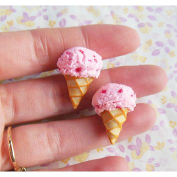 Polymer Clay Strawberry Ice Cream Post Earrings