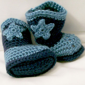 Baby Boys Crochet Cowboy Boots, Light Country Blue and navy, Western Boots, Baby  gift, Baby Shower Gift, Handmade, Made in the USA, #221
