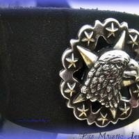 Mens Black Leather Cuff with Eagle, Mens Fashion, Direct checkout,mens acessories,