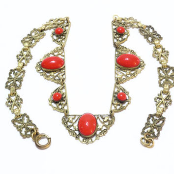 Art Deco Necklace, Czech Glass Necklace, Red Glass & Filigree Brass, Gilded Bow Motif,  1920s, Antique Jewelry, Vintage Jewelry
