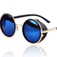 Hot Steampunk Retro Style 50s Silver & Black Frame Round Blue Mirror Lens Glasses Blinder Beach Sunglasses