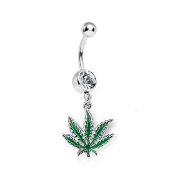 BodyJ4You Belly Ring Clear Gem CZ Pot Leaf Navel Dangle Bar 14G Retainer Piercing Jewelry