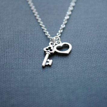 Heart Necklace, Key Necklace, Heart and Key Necklace, Key to My Heart Necklace