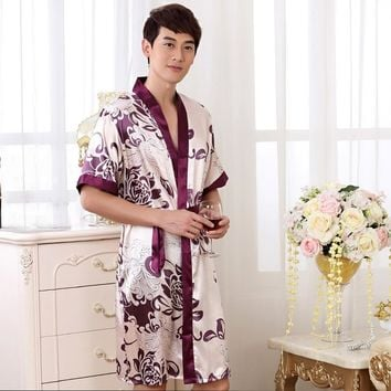 Summer Nightgown Sleepshirts Men Kimono Robe Faux Silk Bath Gown Sleepwear Lounge Casual Silky Nightwear Female Dress M-XXL