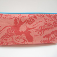 Turtle Cosmetic Bag, Coral Sea Turtle Cosmetic Pouch,  Coral Accessory Pouch, Zippered Pouch in Coral Turtle Print