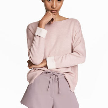 Knitted wool-blend jumper - Pink - Ladies | H&M GB