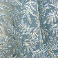 "Vintage Embroidered Venise Venice Lace 48"" Wide Ice Blue Leaf Pattern"