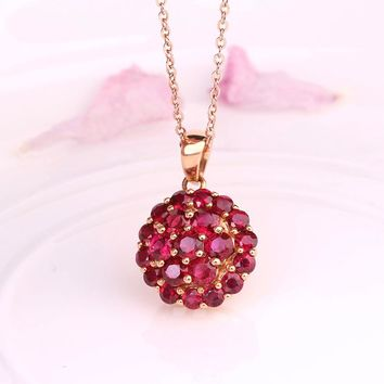 Robira New Natural Stone Pendant Necklaces Vintage Moon Necklace 18K Gold Real Top Quality Red Ruby Classic Pendants Jewelry