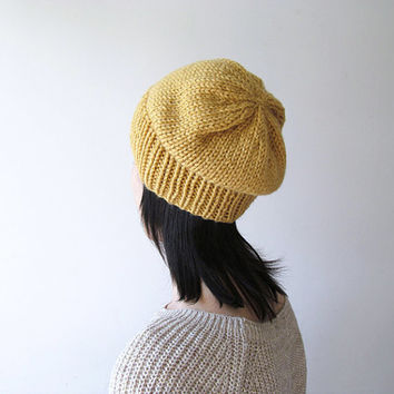 Hand Knitted Chunky Hat in Mustard Yellow - Sparkly Slouch Hat - Seamless Winter Hat - Wool Blend - Ready to Ship