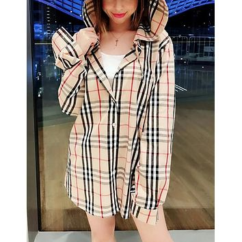 Burberry Popular Women Casual Classic Plaid Pattern Long Sleeve Hooded Sweater Top Shirt I13621-1