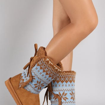 Sharling Snowflake Pattern Sweater Shaft Mid Calf Flat Boots