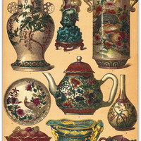 Chinese Ceramics Vases and Teapots Chromolithograph by carambas