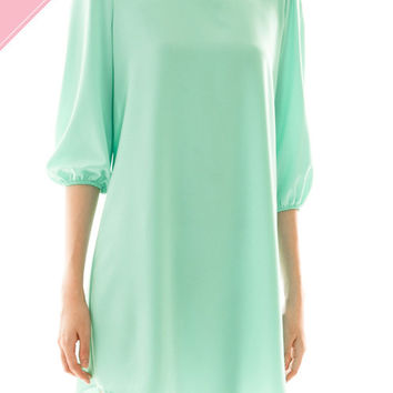 Solid Round Neck Dress w/ 3/4 Sleeves - Teal *MADE IN USA*