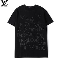 LV New fashion diamond letter couple top t-shirt Black