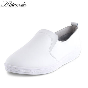 Adriamala Women Shoes Leather Loafers Flats Girls Slip On Lazy Shoes Fashion 2017 Popular Student Girls White Shoes Footwear